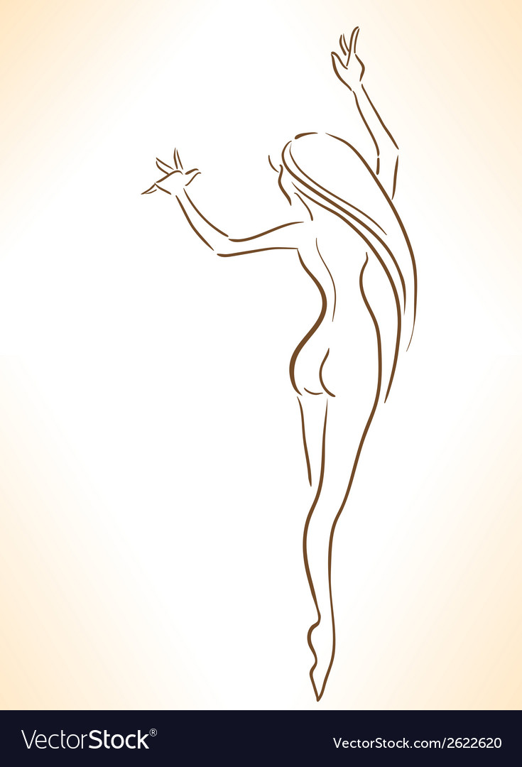 Silhouette of nude dancing slender girl vector image