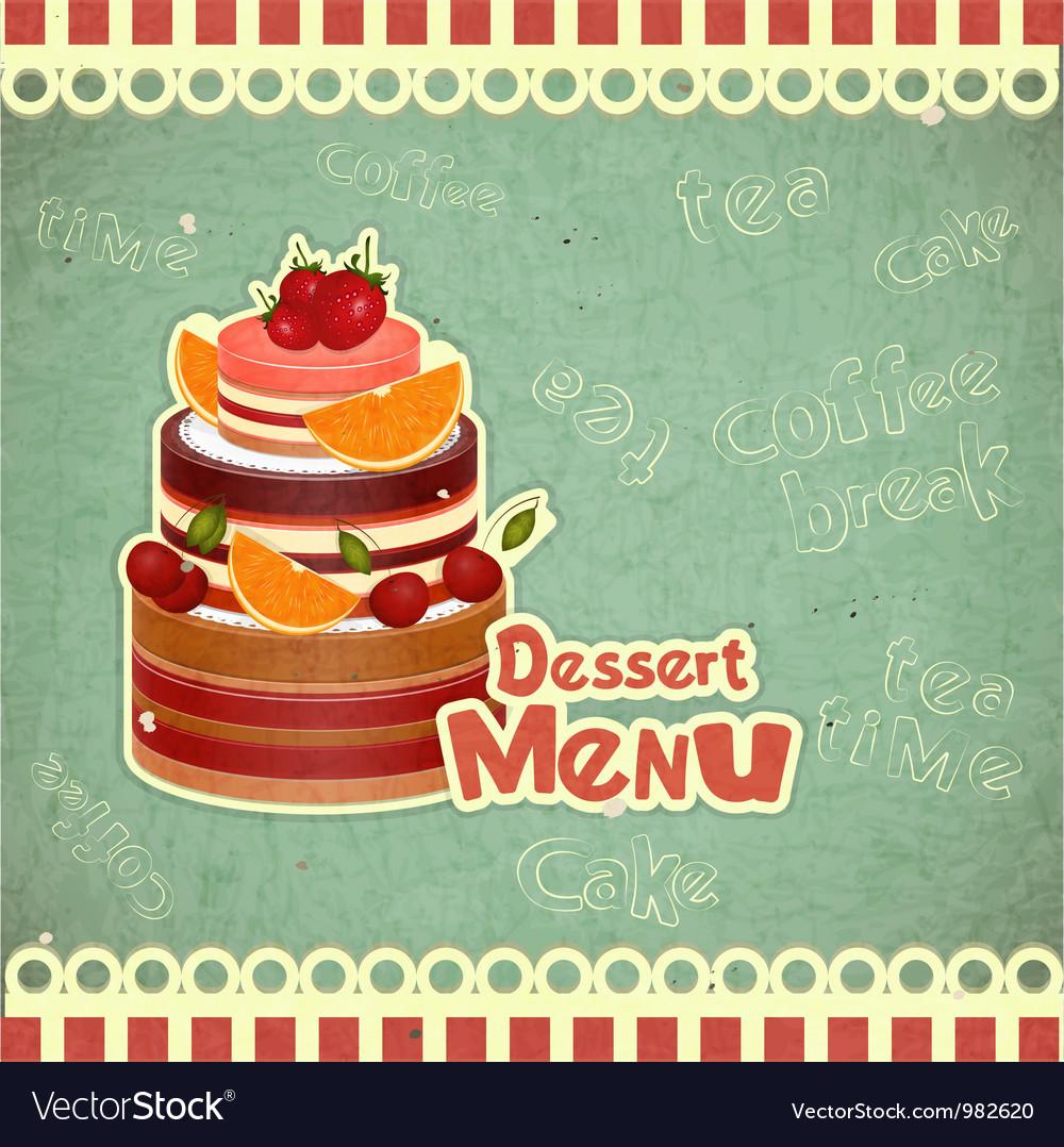 Vintage Cafe or Confectionery Dessert Menu vector image