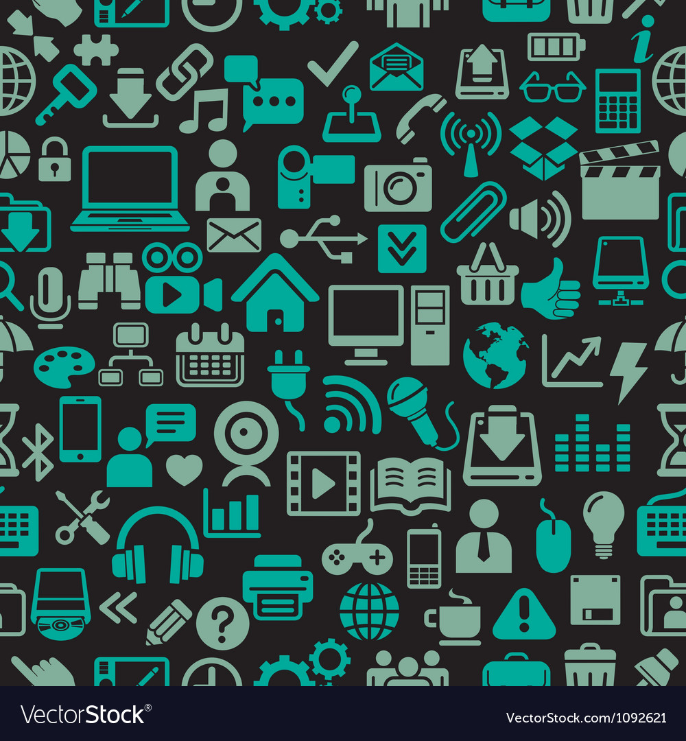 Icons seamless pattern vector image
