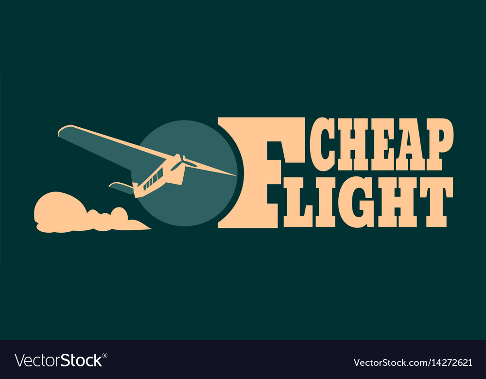 Cheap flights card with cloud and airplane vector image