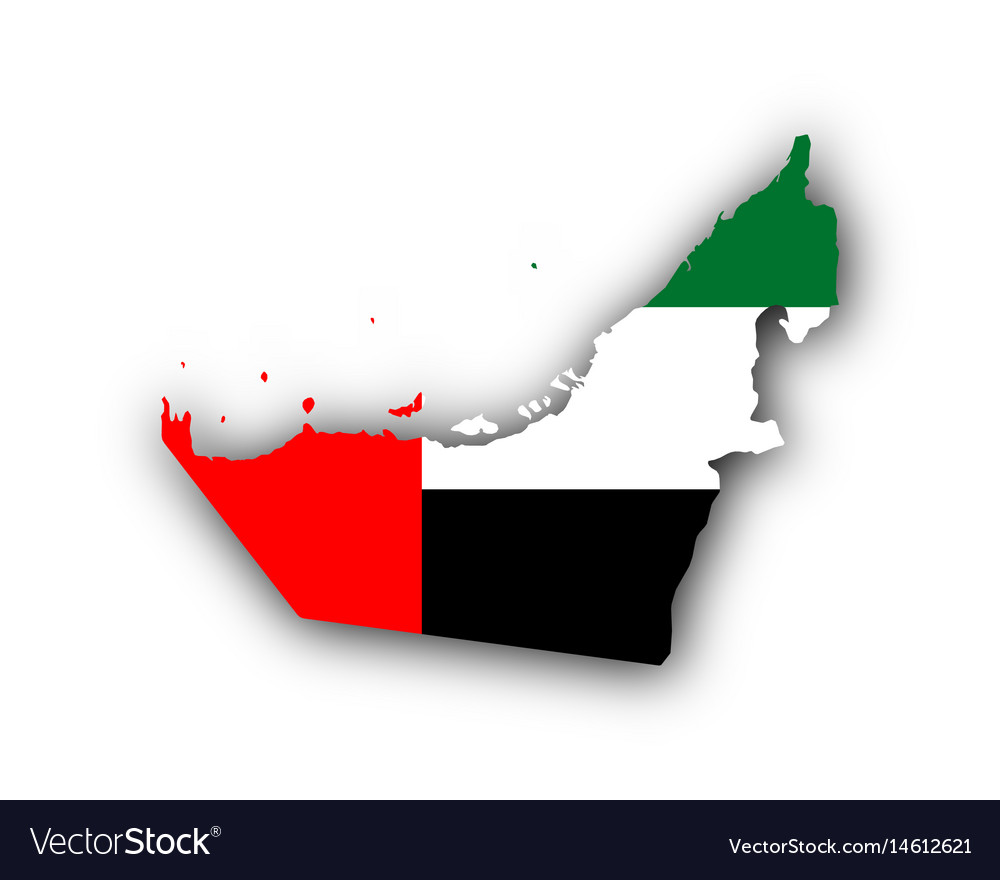 Map and flag of the united arab emirates vector image