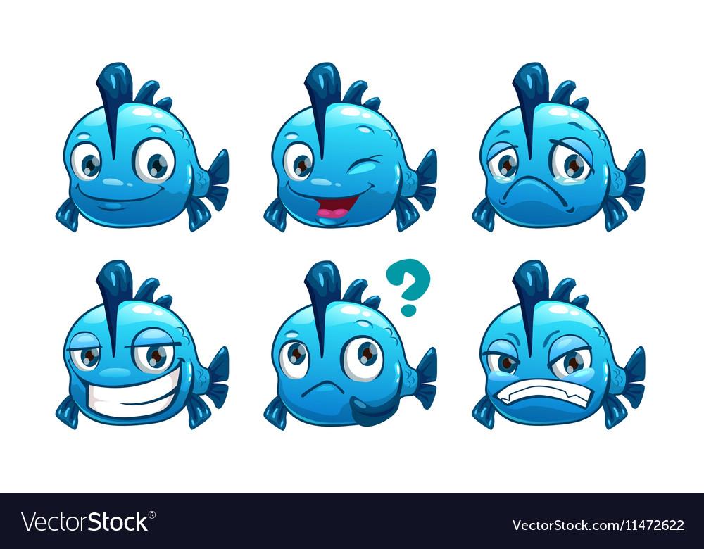 Funny cartoon blue fish vector image