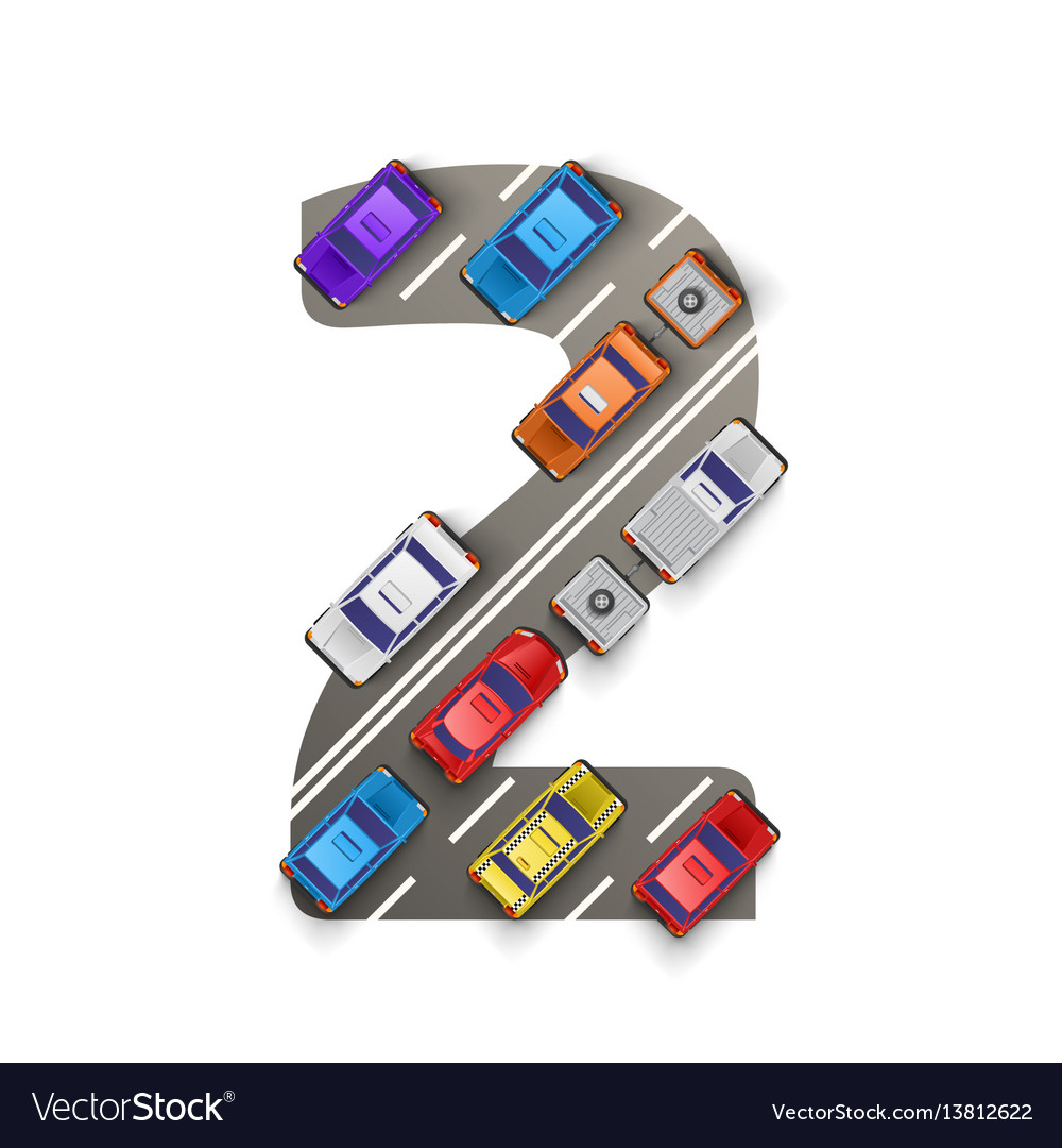 Road with cars in the form of number two vector image