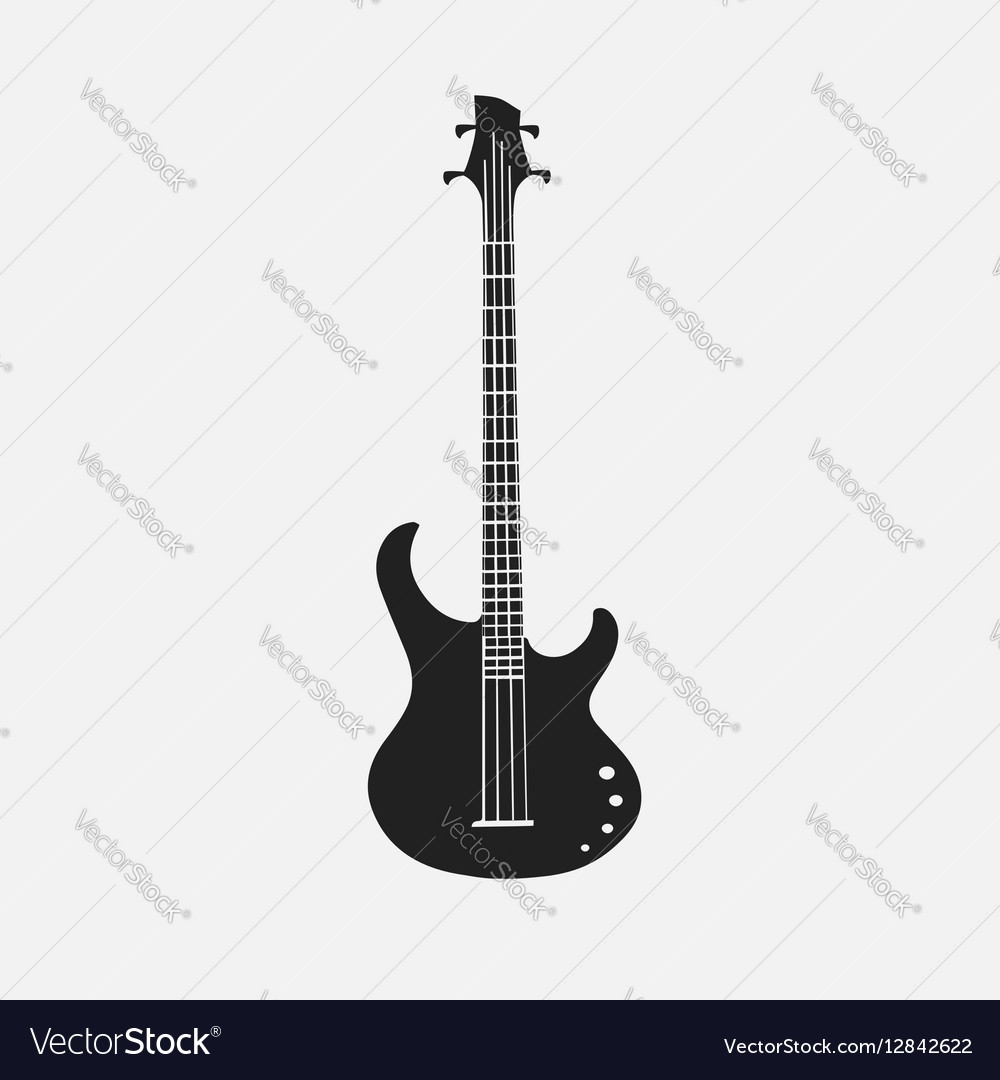 Silhouet of bass guitar EPS 10 vector image