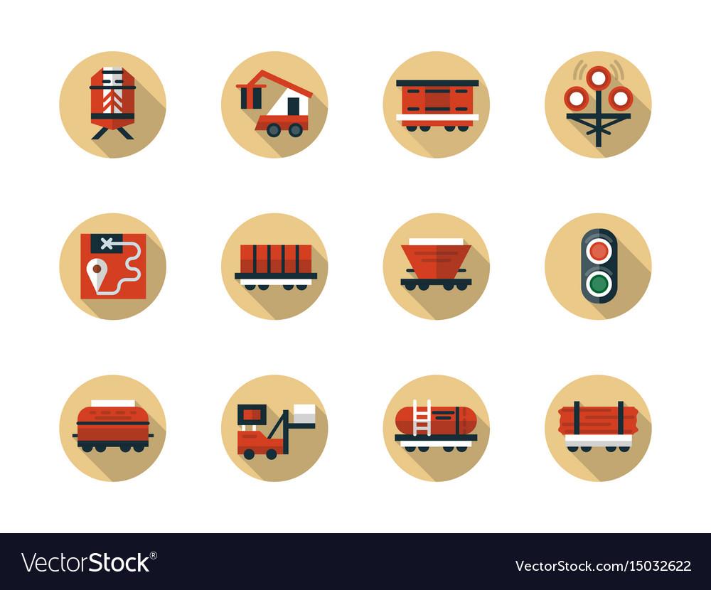 Train cargo shipment round flat beige icons vector image