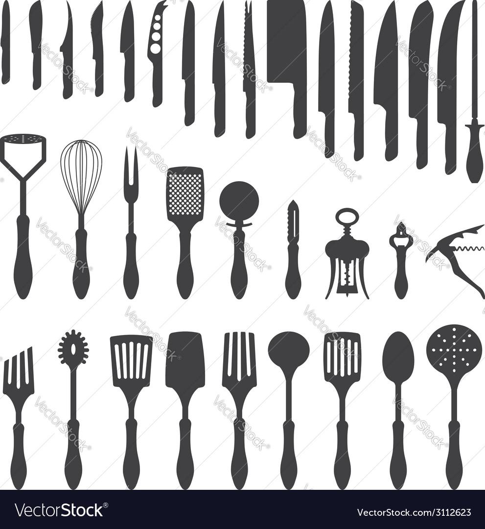 kitchen utensils silhouette vector free. Dinner Cutlery Silhouette Set Vector Image Kitchen Utensils Free