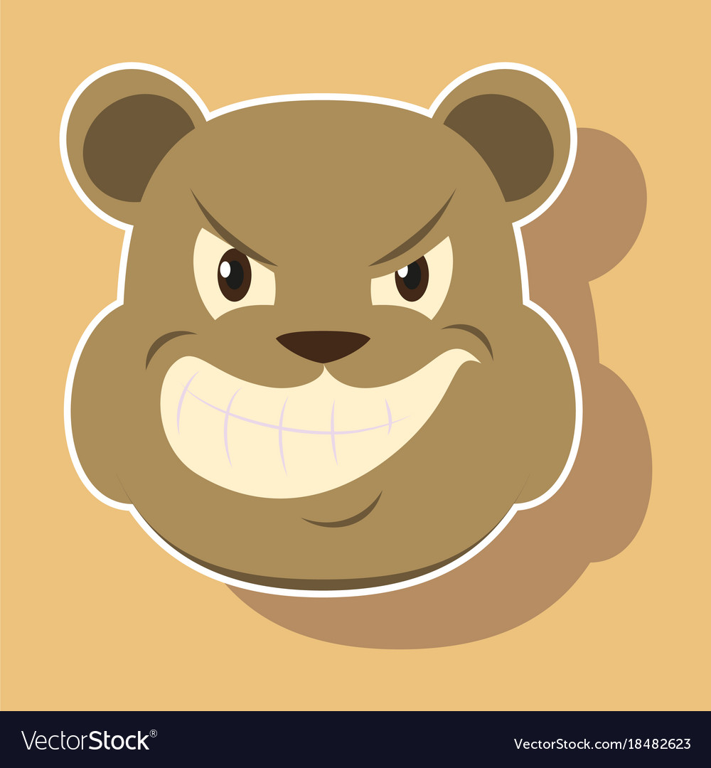 Paper sticker on theme evil animal angry bear