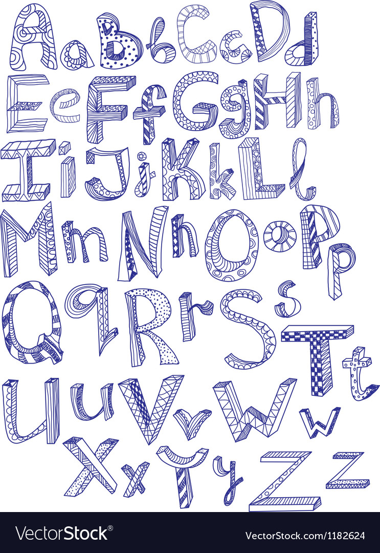 Abc hand drawn vector image