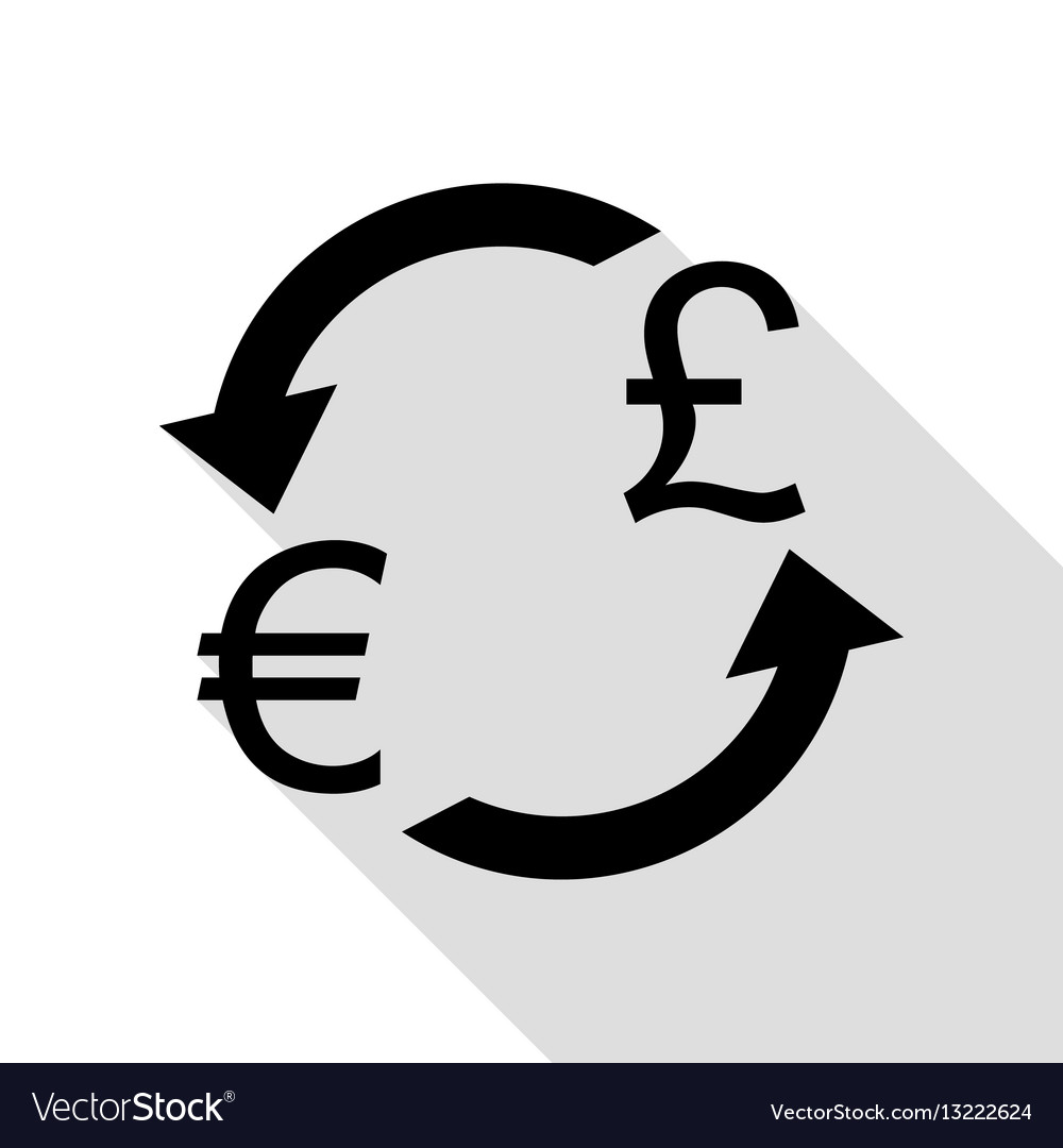 Currency Exchange Sign Euro And Uk Pound Black Vector Image