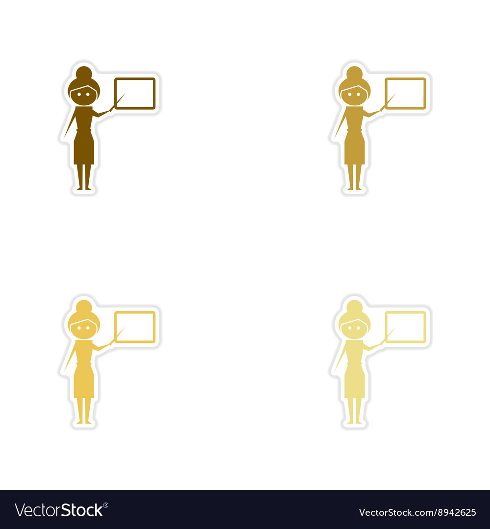 Concept paper stickers on white background woman