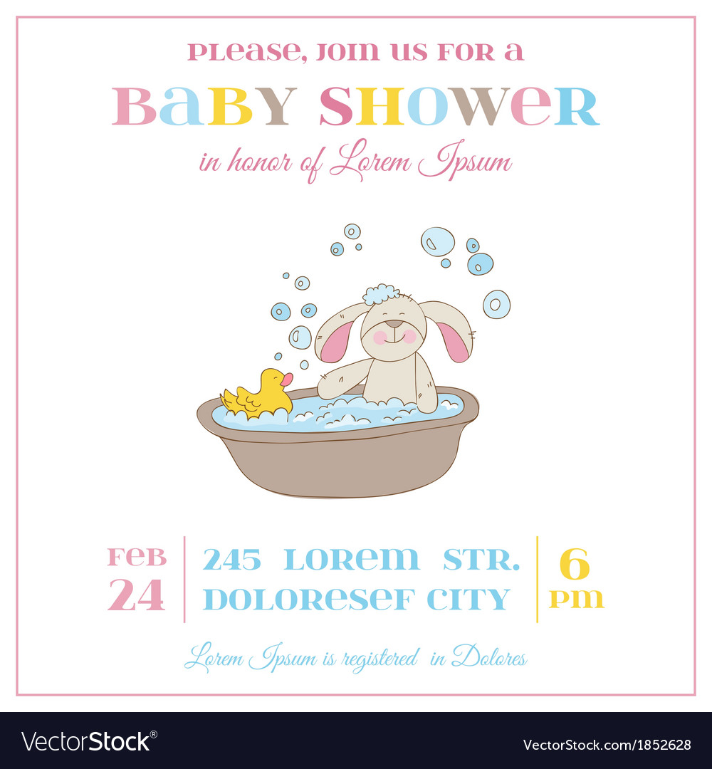 Baby Shower or Arrival Card - Baby Bunny Girl vector image