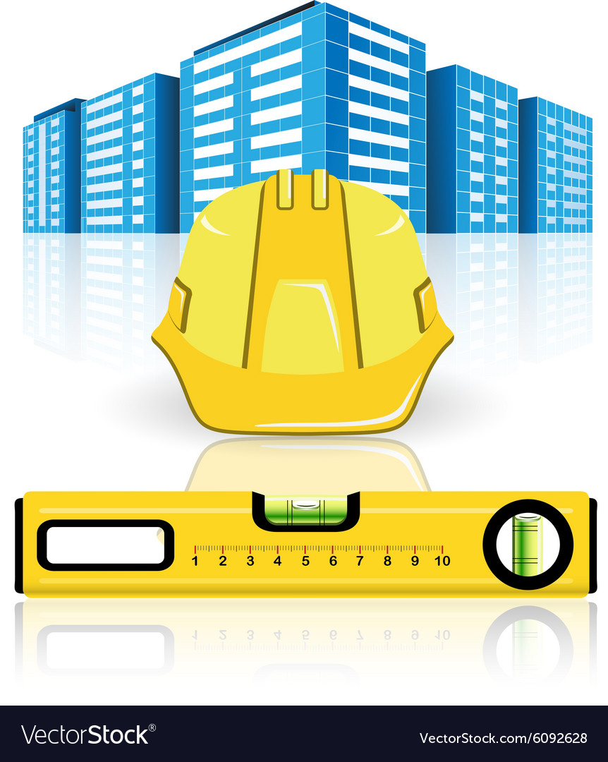 Construction of buildings vector image