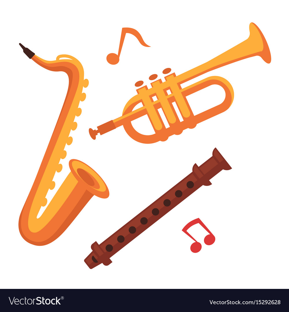 Musical instruments set on white with note signs vector image