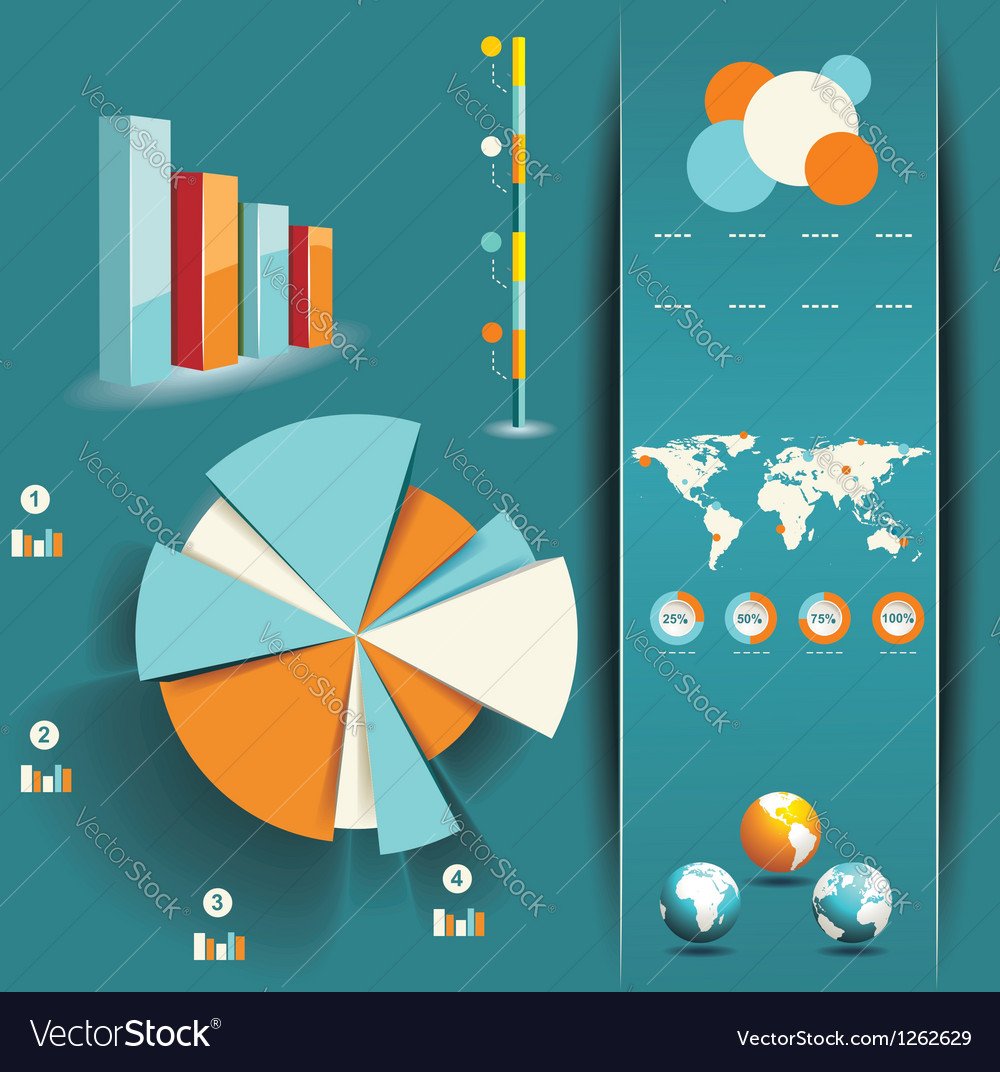 Set of Infographic Elements World Map and vector image
