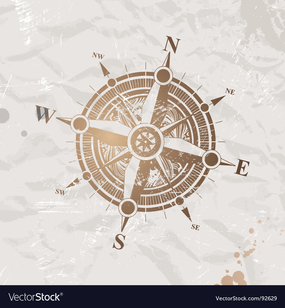 Vintage paper with compass rose vector image