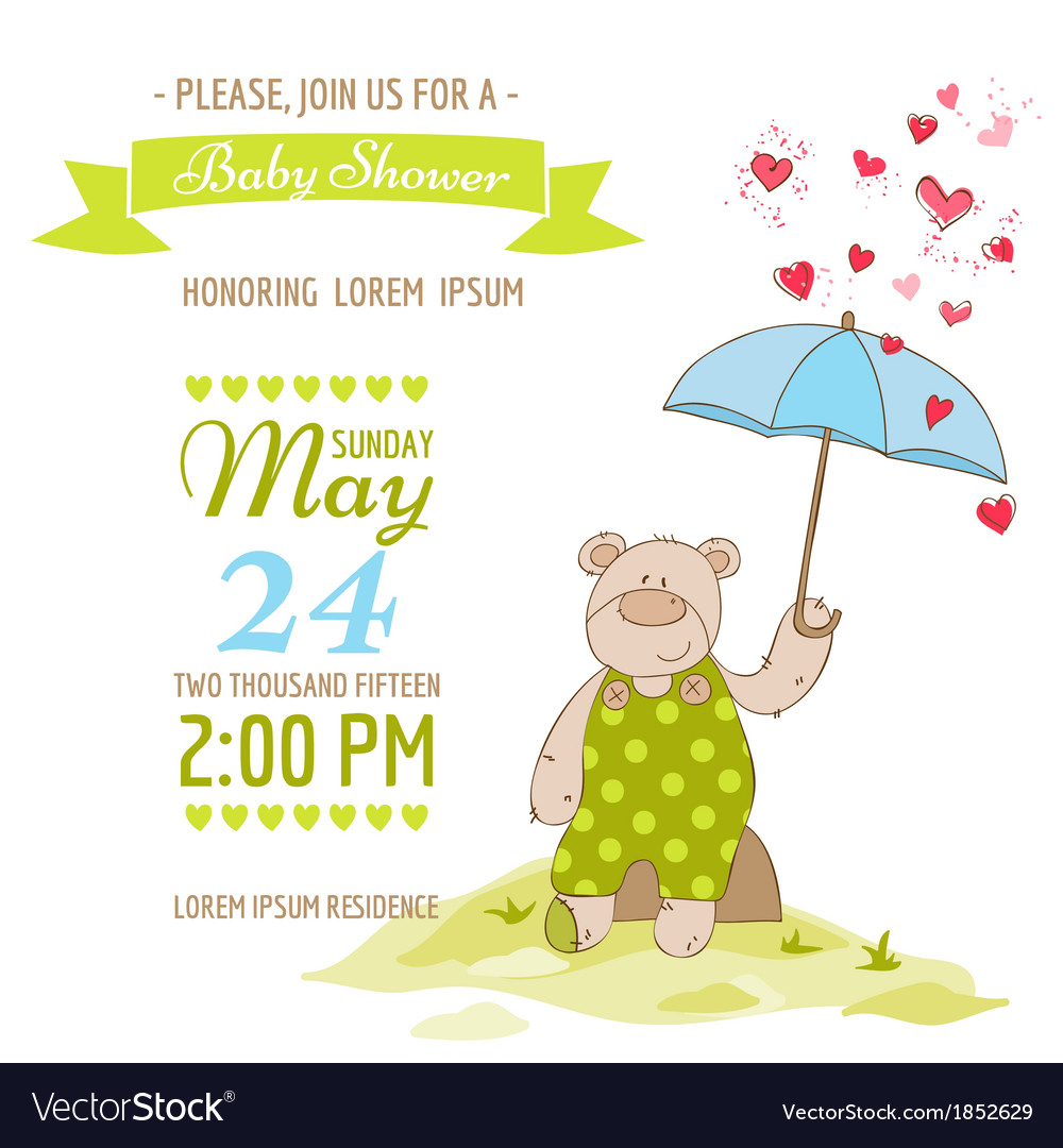 Baby Shower Card   With Baby Bear And Umbrella Vector Image