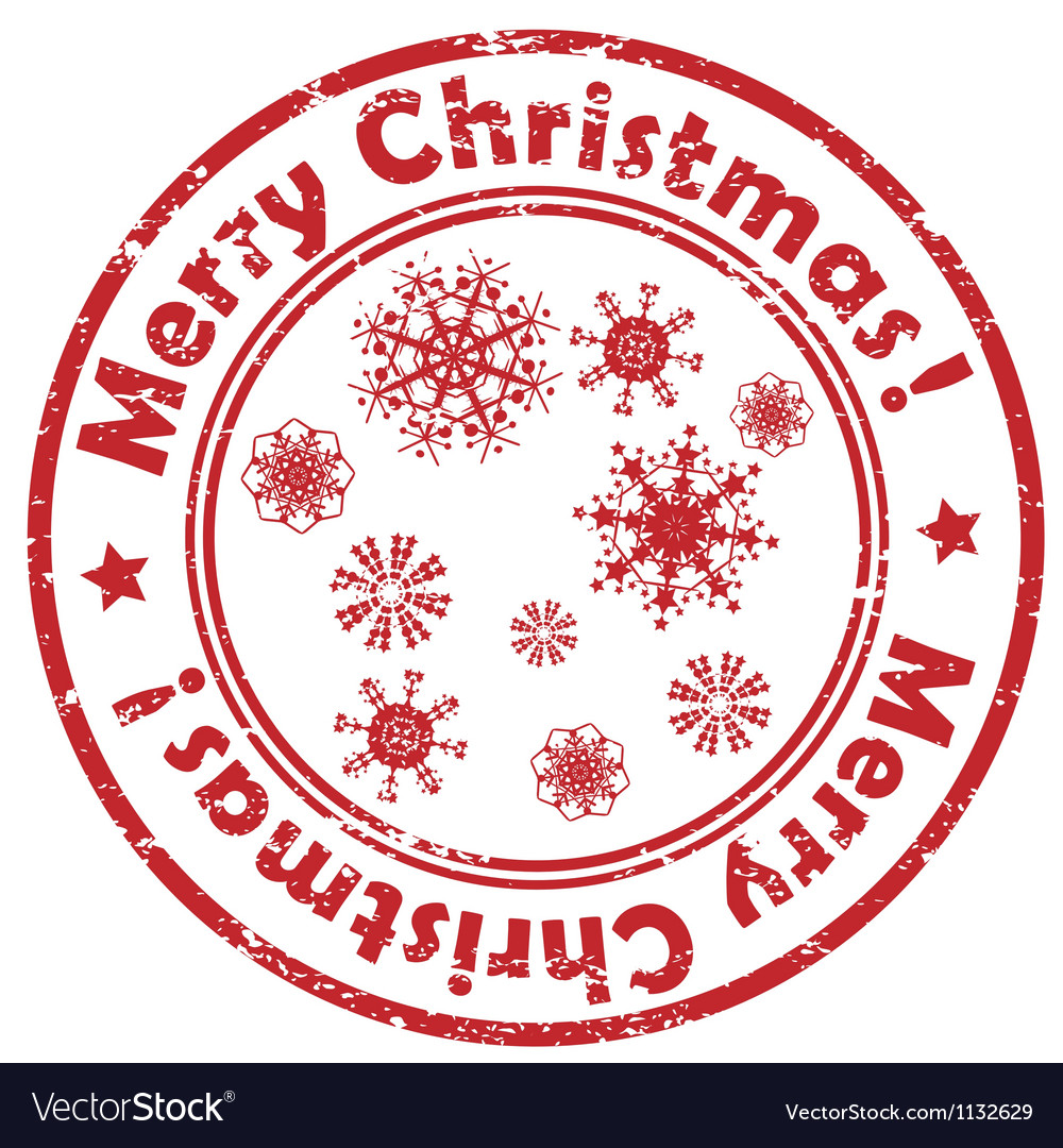 Merry christmas snowflakes stamp Royalty Free Vector Image