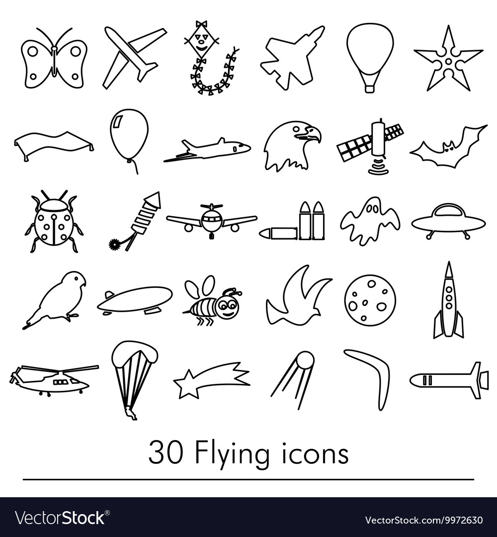 Flying theme theme outline symbols and icons set vector image