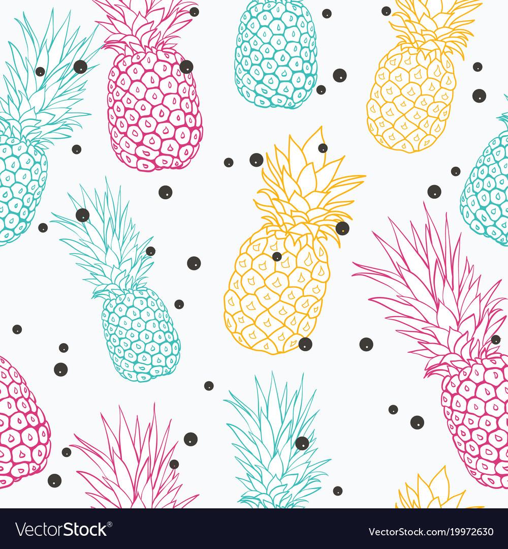 Pineapple polka dot summer colorful vector image