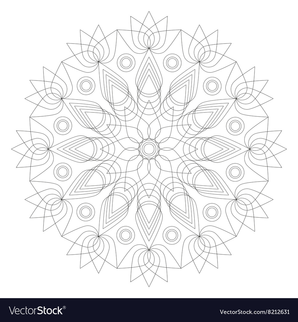 Adult Coloring Book Mandala Lotus Flower Vector Image