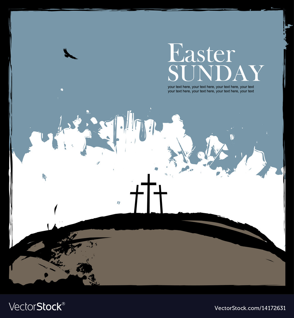 Poster for easter with calvary and three crosses vector image