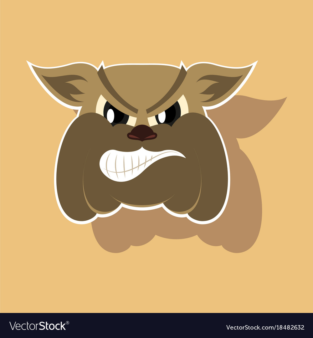 Paper sticker on theme angry bulldog animal