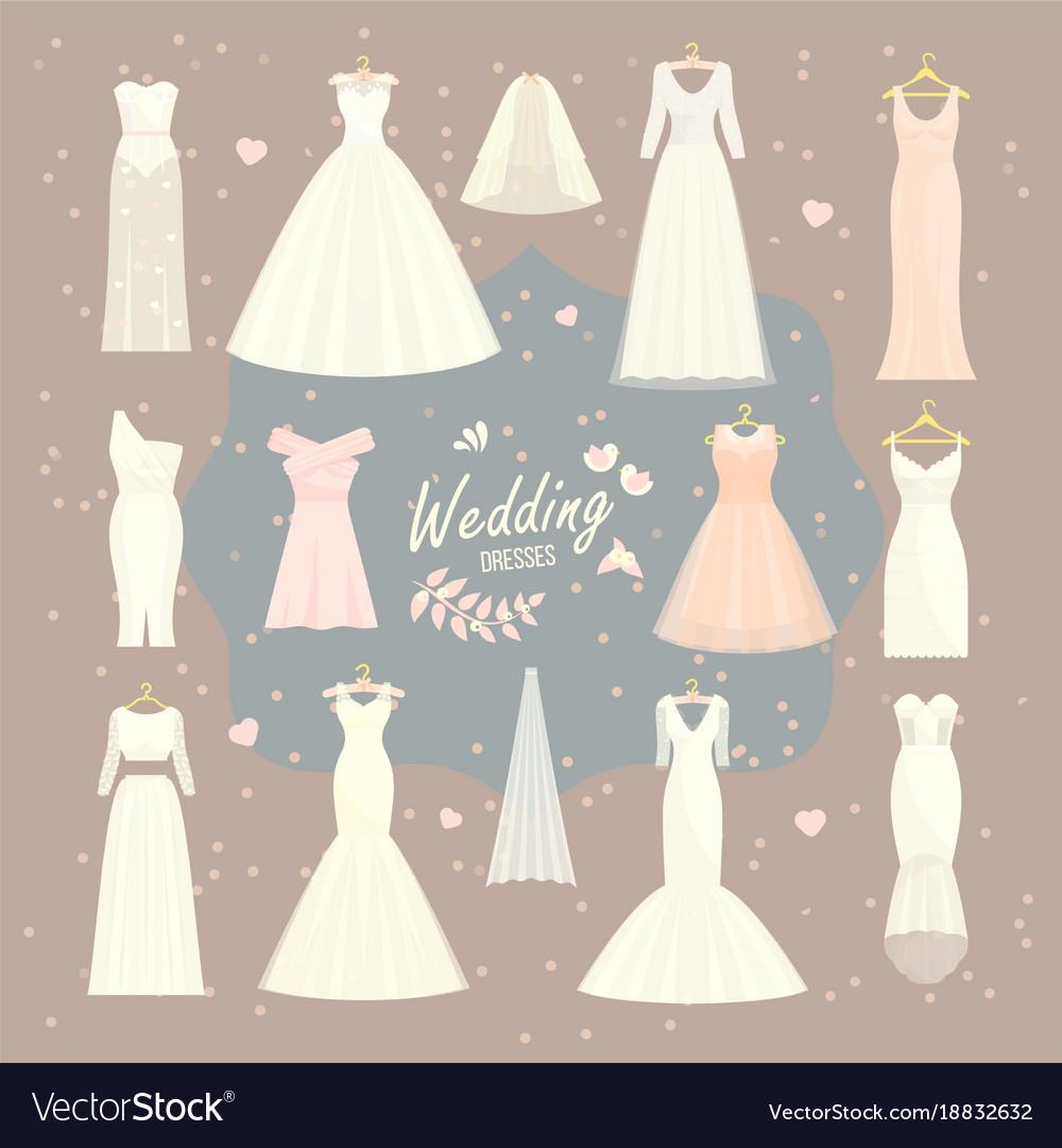 Wedding dresses set bride and bridesmaid Vector Image