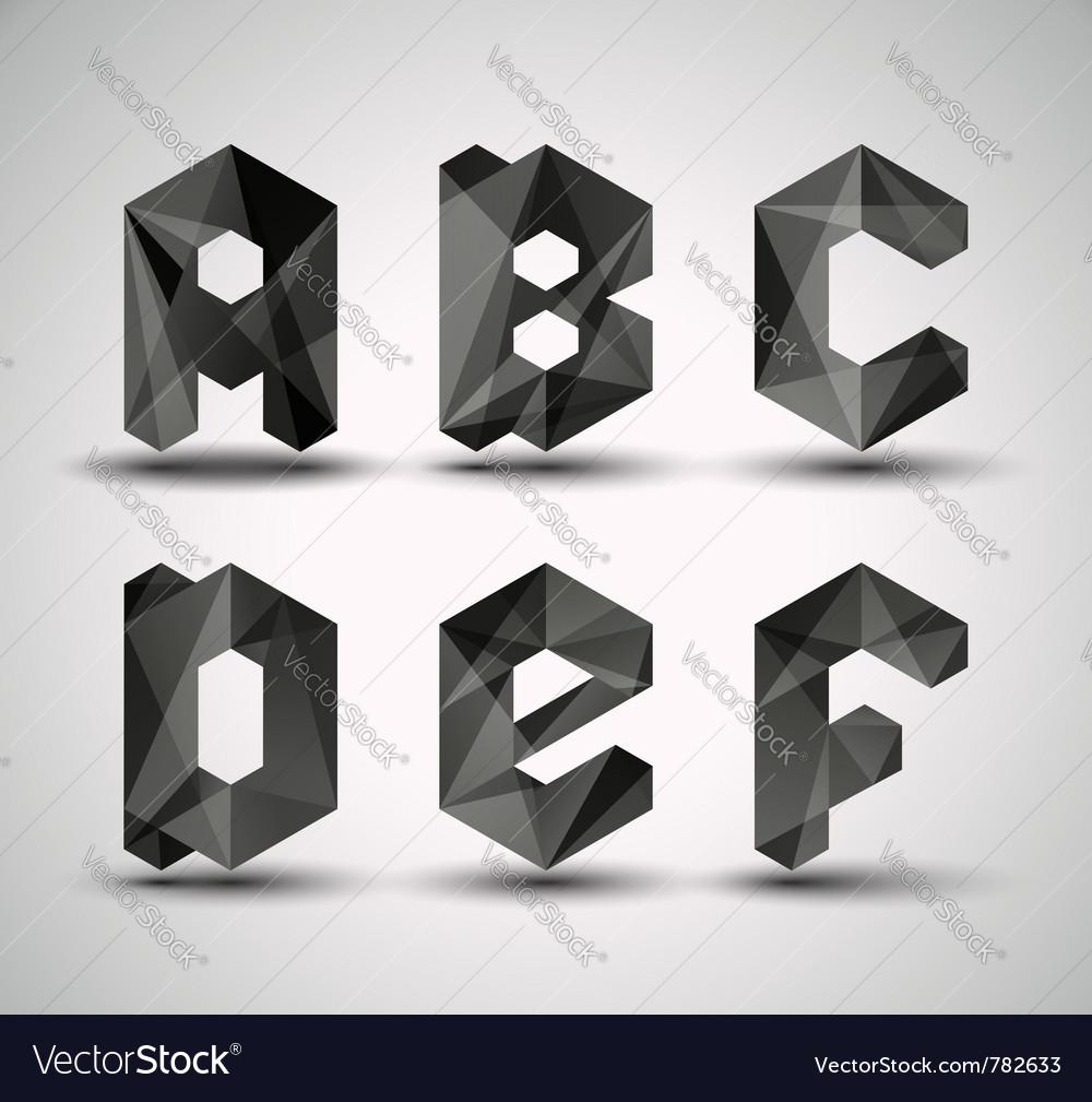 Trendy black alphabet vector image