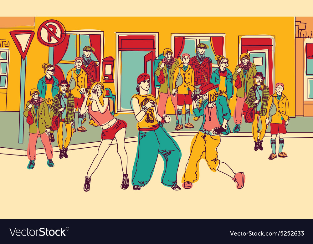 Street dance people group city color vector image
