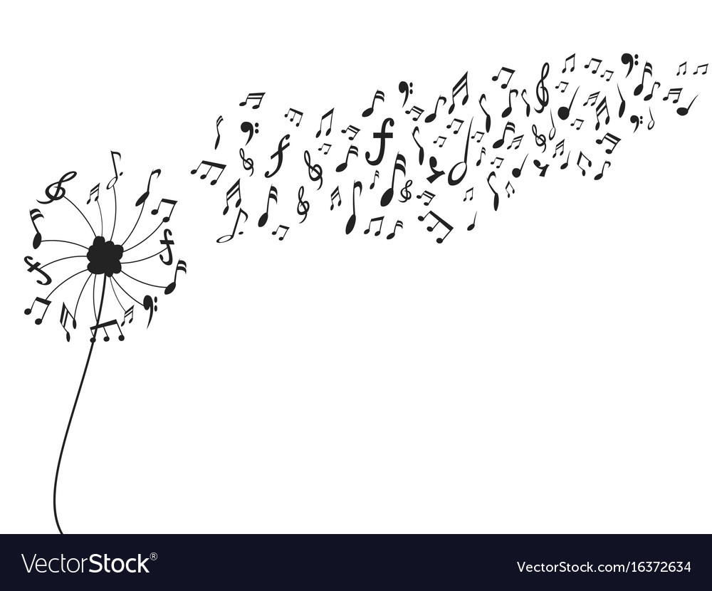 Dandelion with music notes vector image