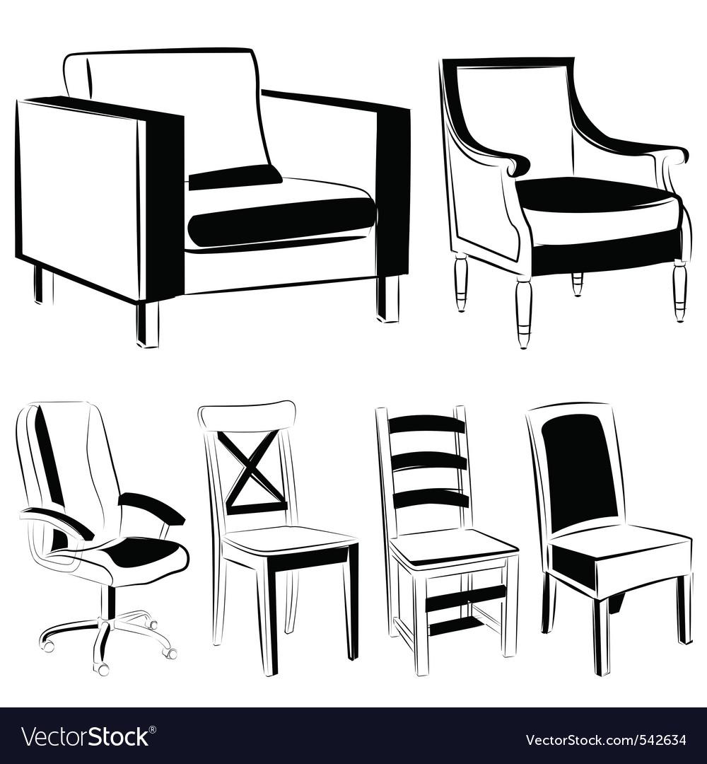 Furniture black version vector image