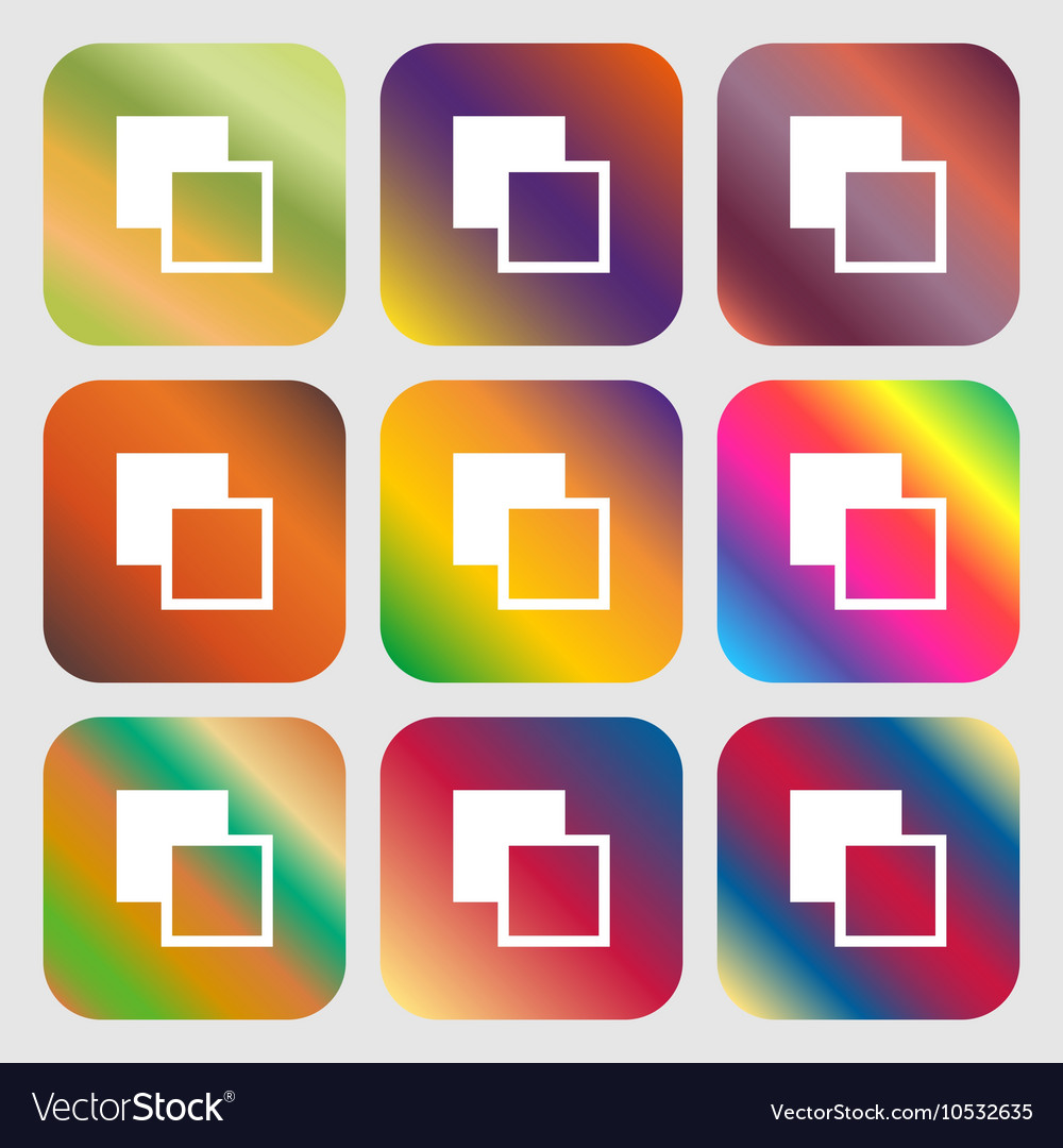 Active color toolbar icon Nine buttons with bright vector image