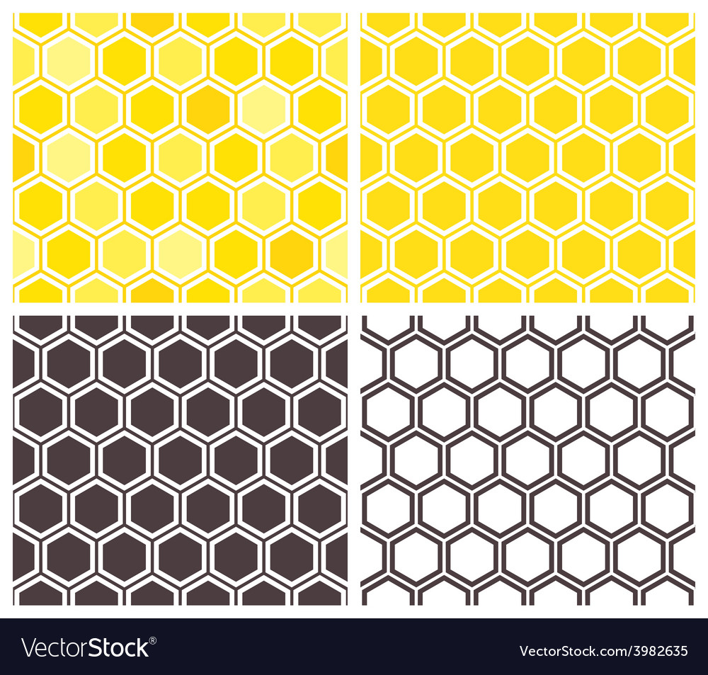 Honeycomb seamless pattern set vector image