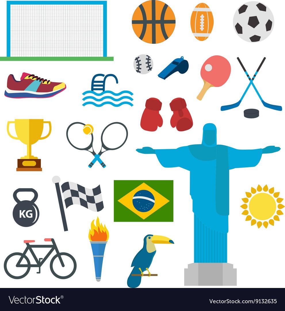 Sport icons set Rio Brasil games vector image