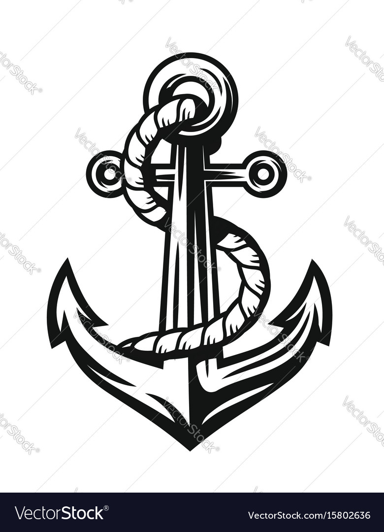 Black nautical anchor vector image