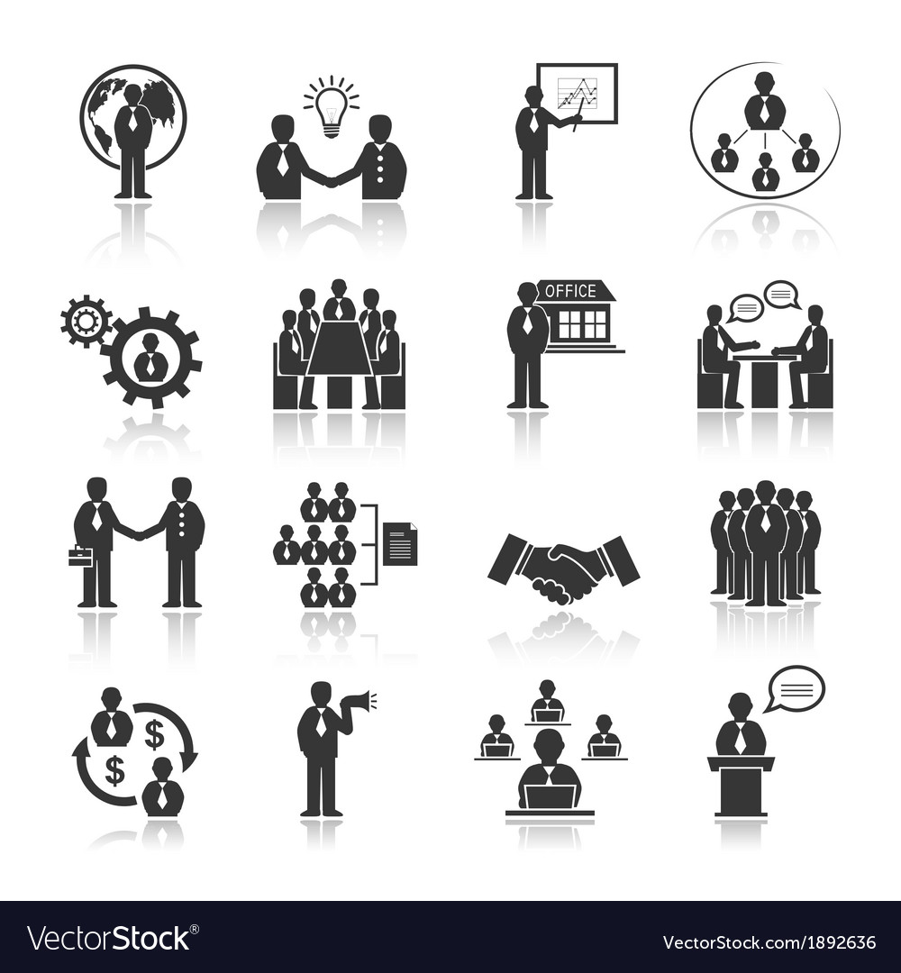 Business people meeting icons set vector image