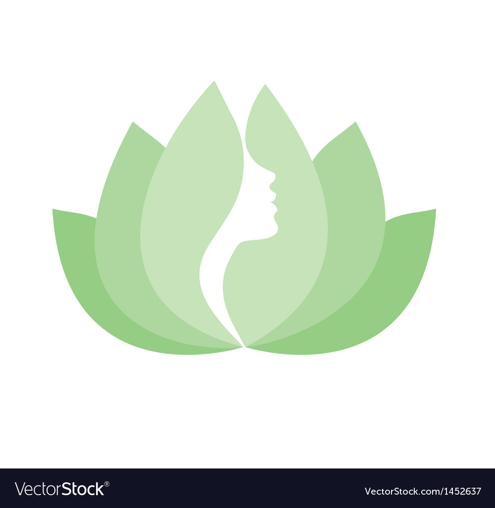 Woman beauty lotus icon isolated - white backround vector image