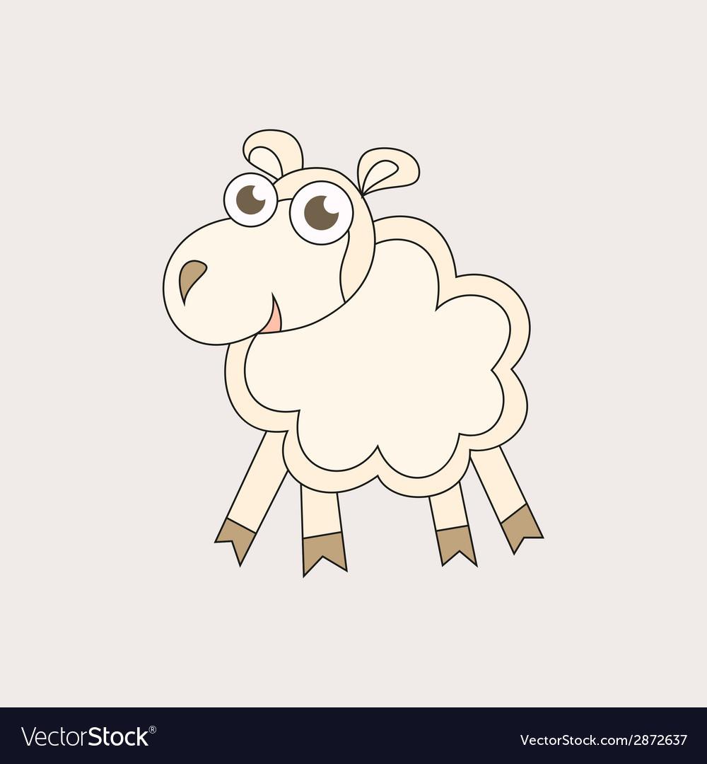 Cartoon sheep character for Christmas and 2015 New vector image