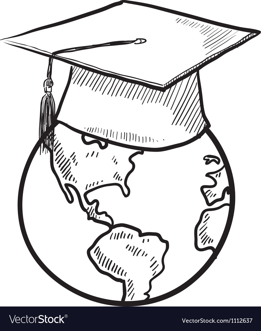 doodle earth graduation cap royalty free vector image