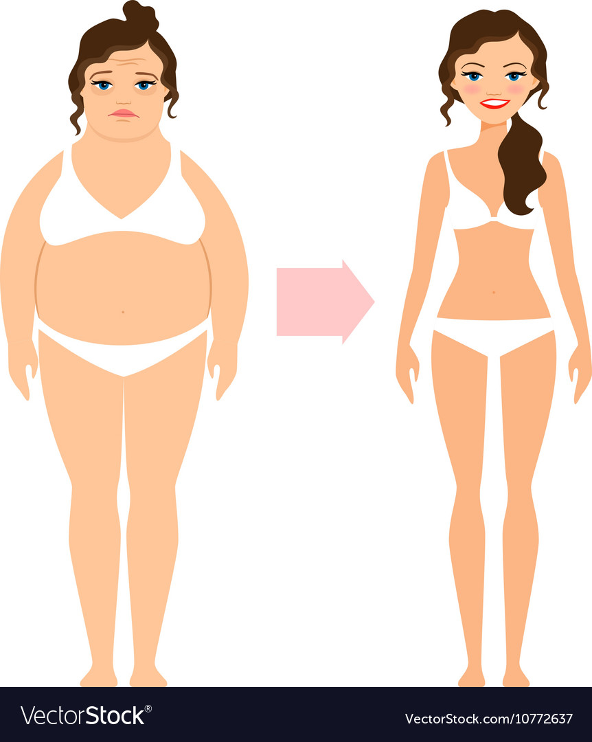Fat lady and slim diet woman vector image