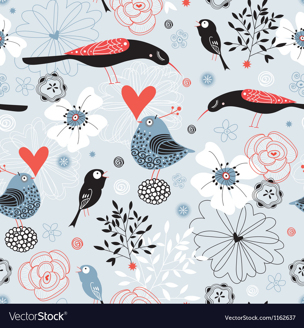 Flower texture with birds vector image