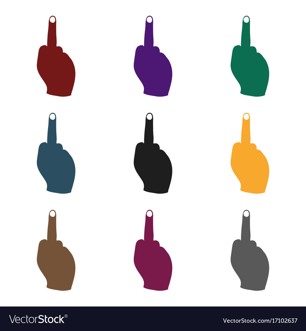 Middle finger icon in black style isolated on vector image