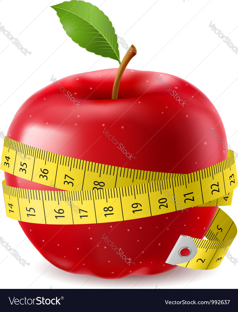 Red apple and measure tape vector image