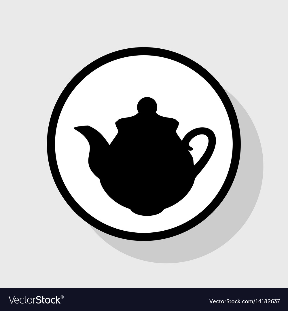 Tea maker kitchen sign flat black icon in vector image