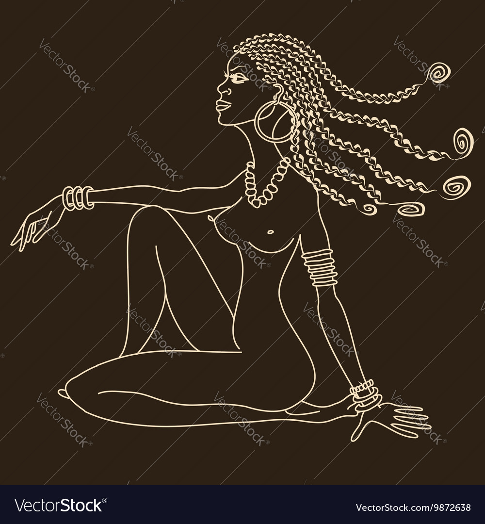 Silhouette of beautiful African tribal nude girl vector image
