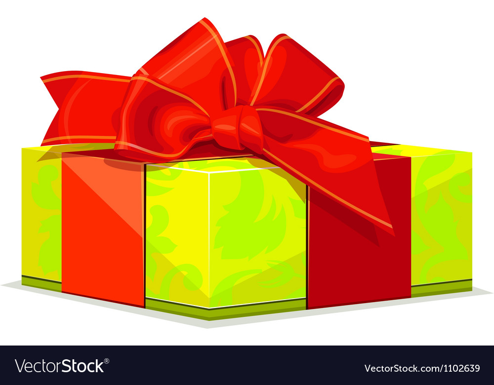 Green gift with red bow vector image