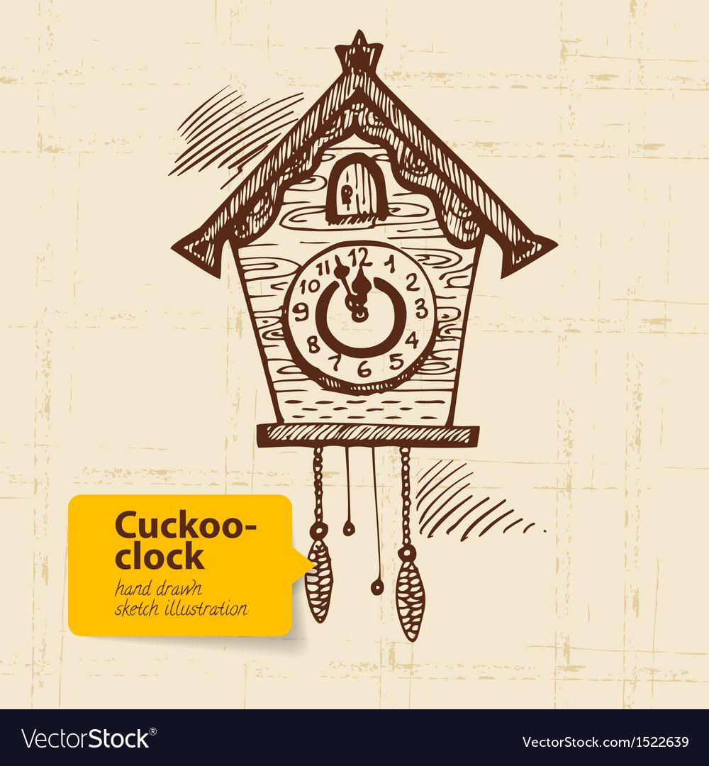 Vintage cuckoo-clock vector image