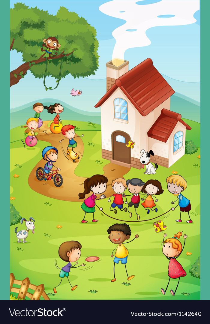 Playground with kids vector image