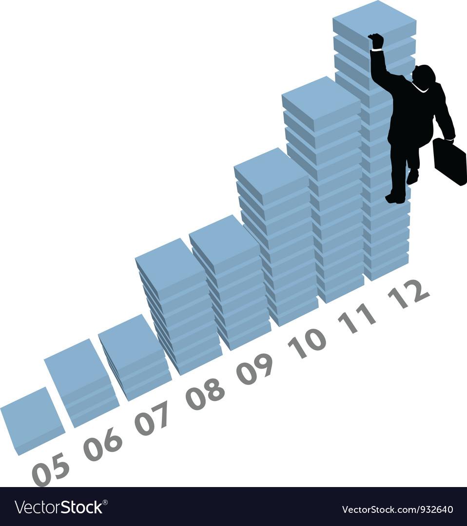 Business man climbs up sales data chart vector image