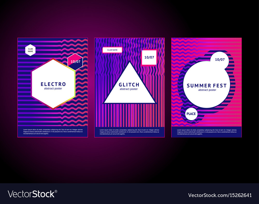 Electronic music poster abstract lines club vector image